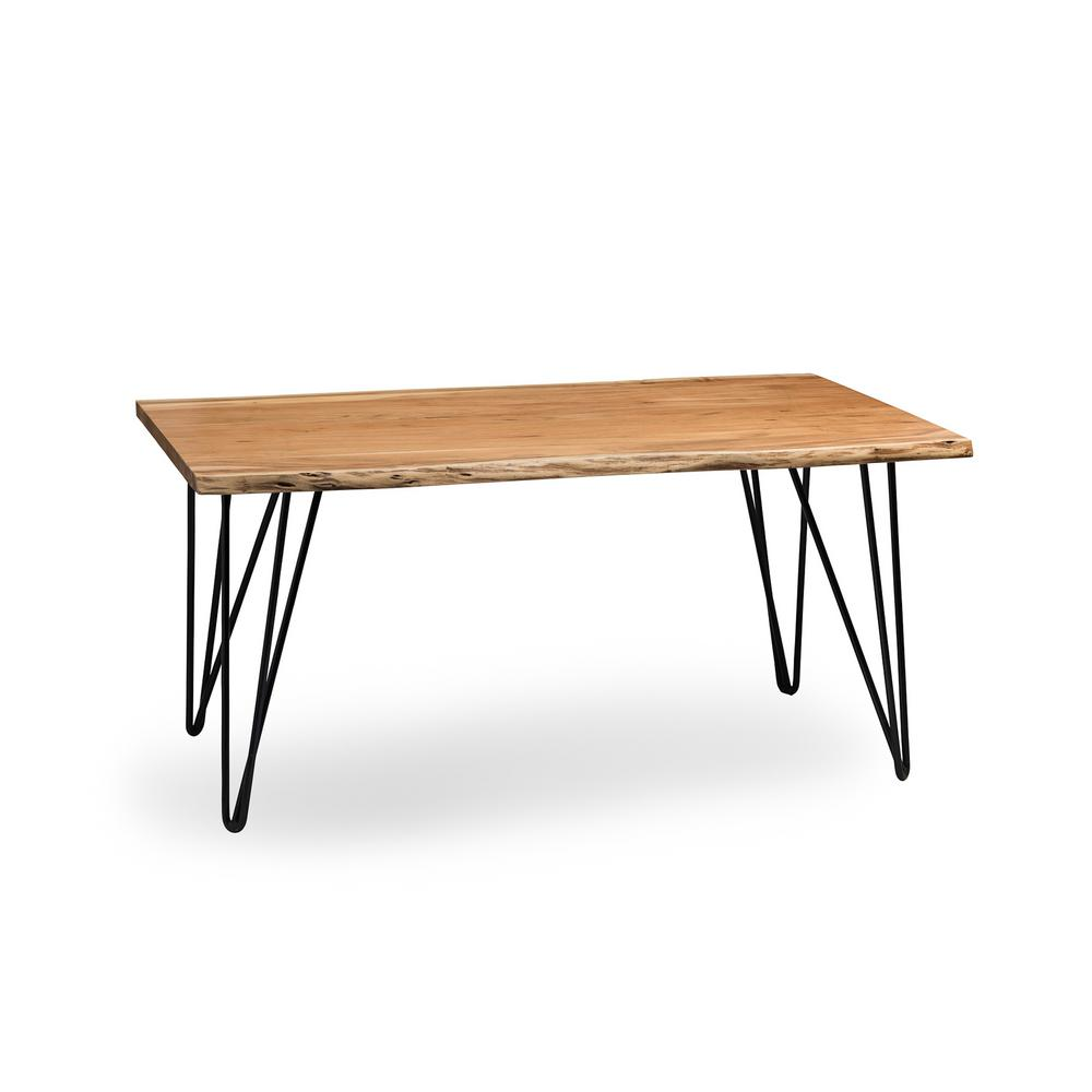 Alaterre Furniture Hairpin Natural Live Edge 42 in. Natural Wood with Metal Coffee Table ...