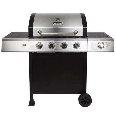 4-Burner Open Cart Propane Gas Grill in Stainless Steel with Side Burner