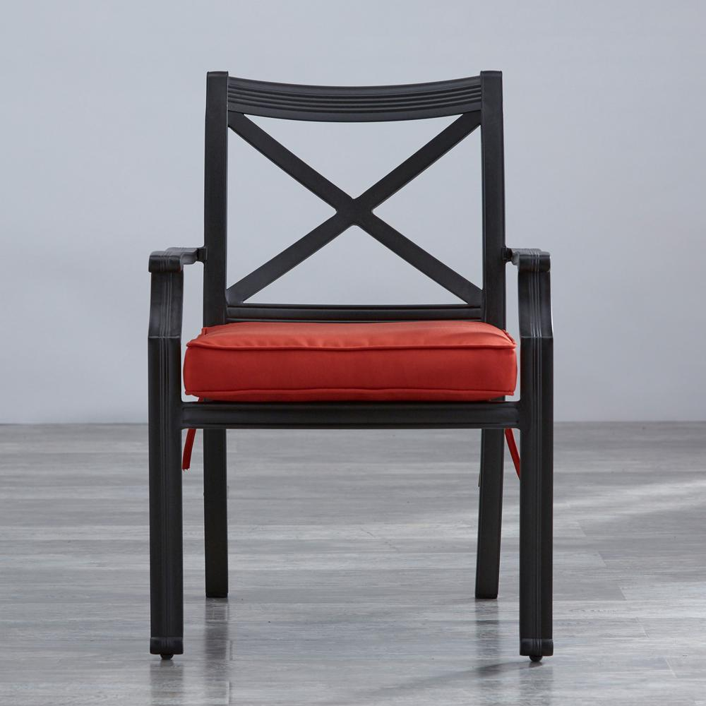 Thoren Charcoal Aluminum Outdoor Dining Chair with Red Cushion (2 -Pack)