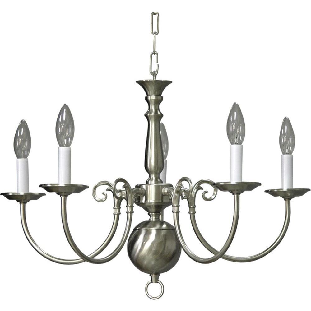 Volume Lighting 5-Light Brushed Nickel Interior Chandelier