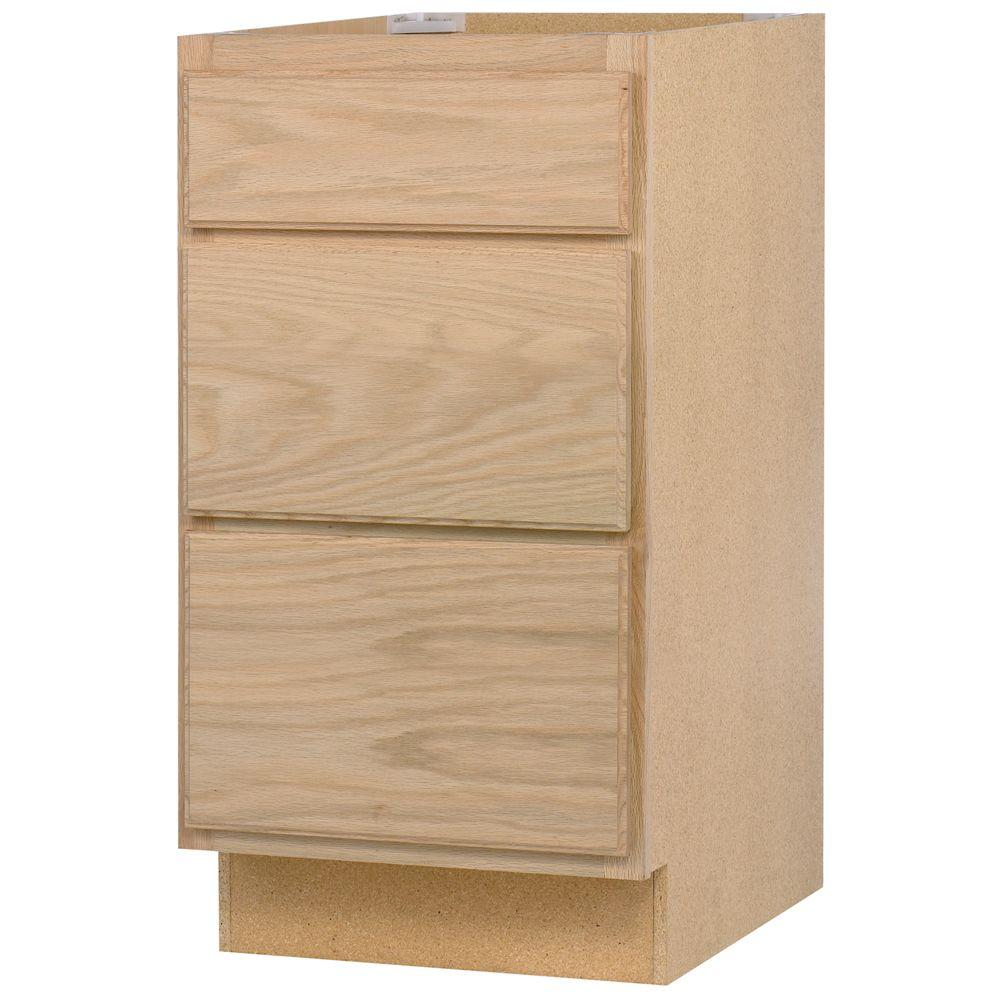 Base Kitchen Cabinet With 3 Drawers In Unfinished Oak DB24OHD   The Home  Depot