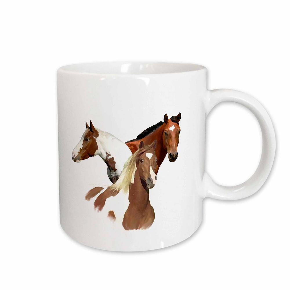 Horse 11 oz. White Ceramic Horses Mug