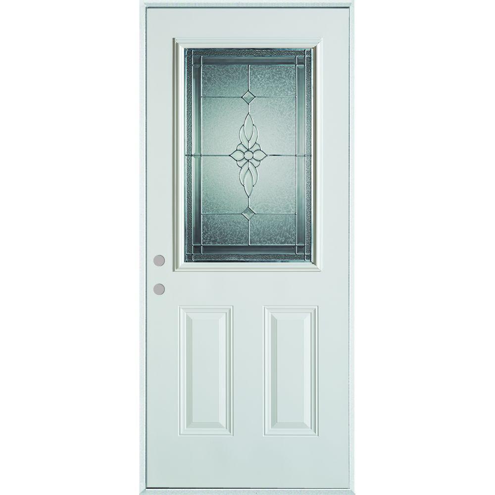 Stanley Doors 36 in. x 80 in. Victoria Classic Zinc 1/2 Lite  sc 1 st  Home Depot & Stanley Doors 36 in. x 80 in. Victoria Classic Zinc 1/2 Lite 2-Panel ...