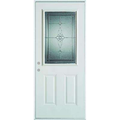 36 in. x 80 in. Victoria Classic Zinc 1/2 Lite 2-Panel Prefinished White Steel Prehung Front Door