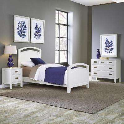 Newport 3 Piece White Twin Bedroom Set