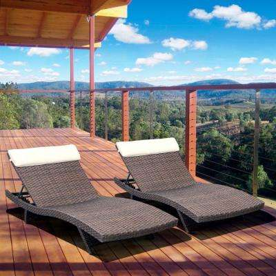 Florida Deluxe Brown All-Weather Wicker Patio Chaise Lounge with Off-White Cushion (2-Set)