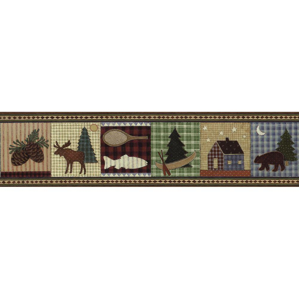 The Wallpaper Company 8 in. x 10 in. Earth Tone Camping Border Sample-DISCONTINUED