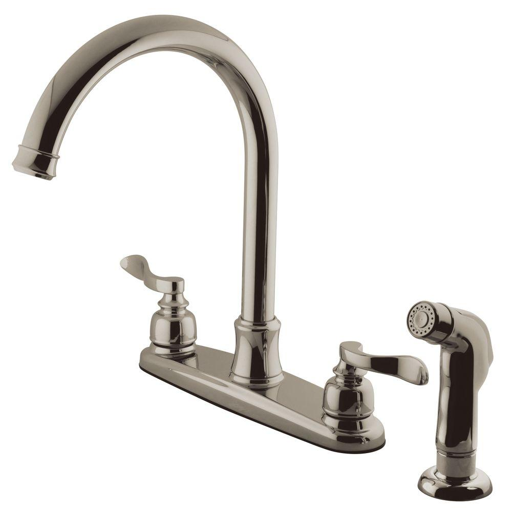 Kingston Brass Designer 2 Handle Standard Kitchen Faucet With Side Sprayer  In Chrome