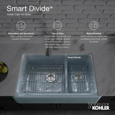 Langlade Smart Divide Drop-In Cast Iron 33 in. 2-Hole Double Bowl Kitchen Sink in White