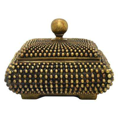 10 in. x 8 in. Decorative Bronze Resin Covered Box in Bronze