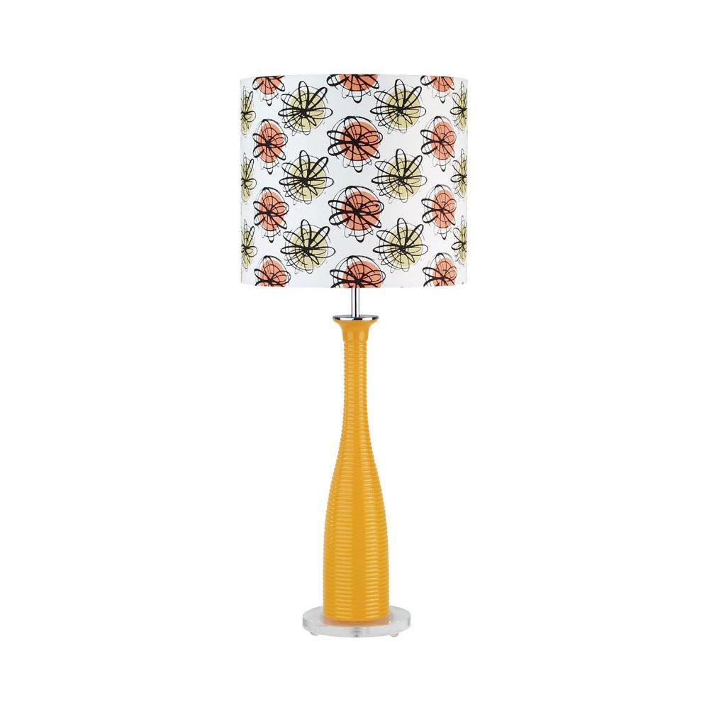 Illumine Designer Collection 26 in. Steel Table Lamp with Orange Glass Shade