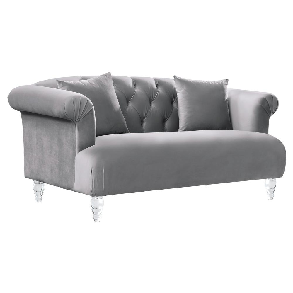 Armen Living Elegance Grey Velvet Contemporary Loveseat With Acrylic Legs