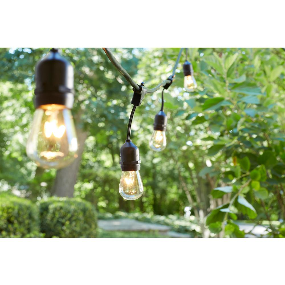 Newhouse Lighting 48 Foot Outdoor String Lights Led Bulbs: Hampton Bay 48 Ft. 24-Socket Incandescent String Light Set