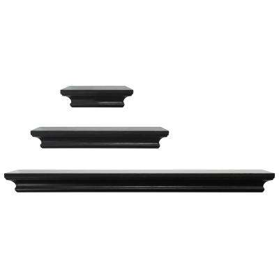 Boston 2 in. x 4 in. x 24 in. Black Wall Shelf (Set of 3)
