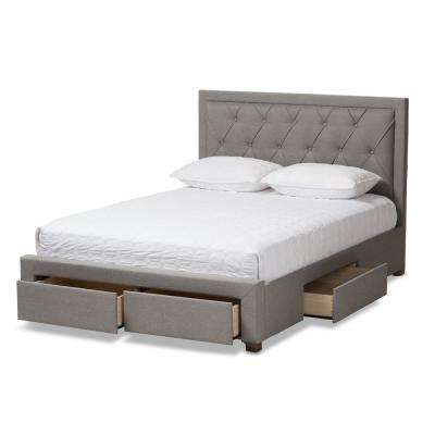 Aurelie Light Gray Queen Storage Bed