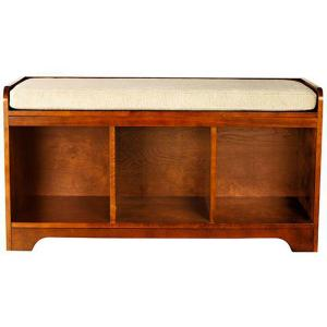 Perfect Home Decorators Collection Wellman Dark Cherry 3 Cubby Storage Bench 1158210920    The Home Depot