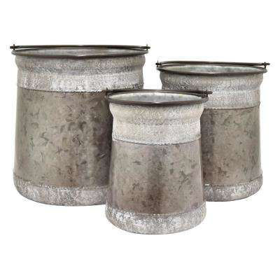 14 in. Galvanized Containers (Set of 3)