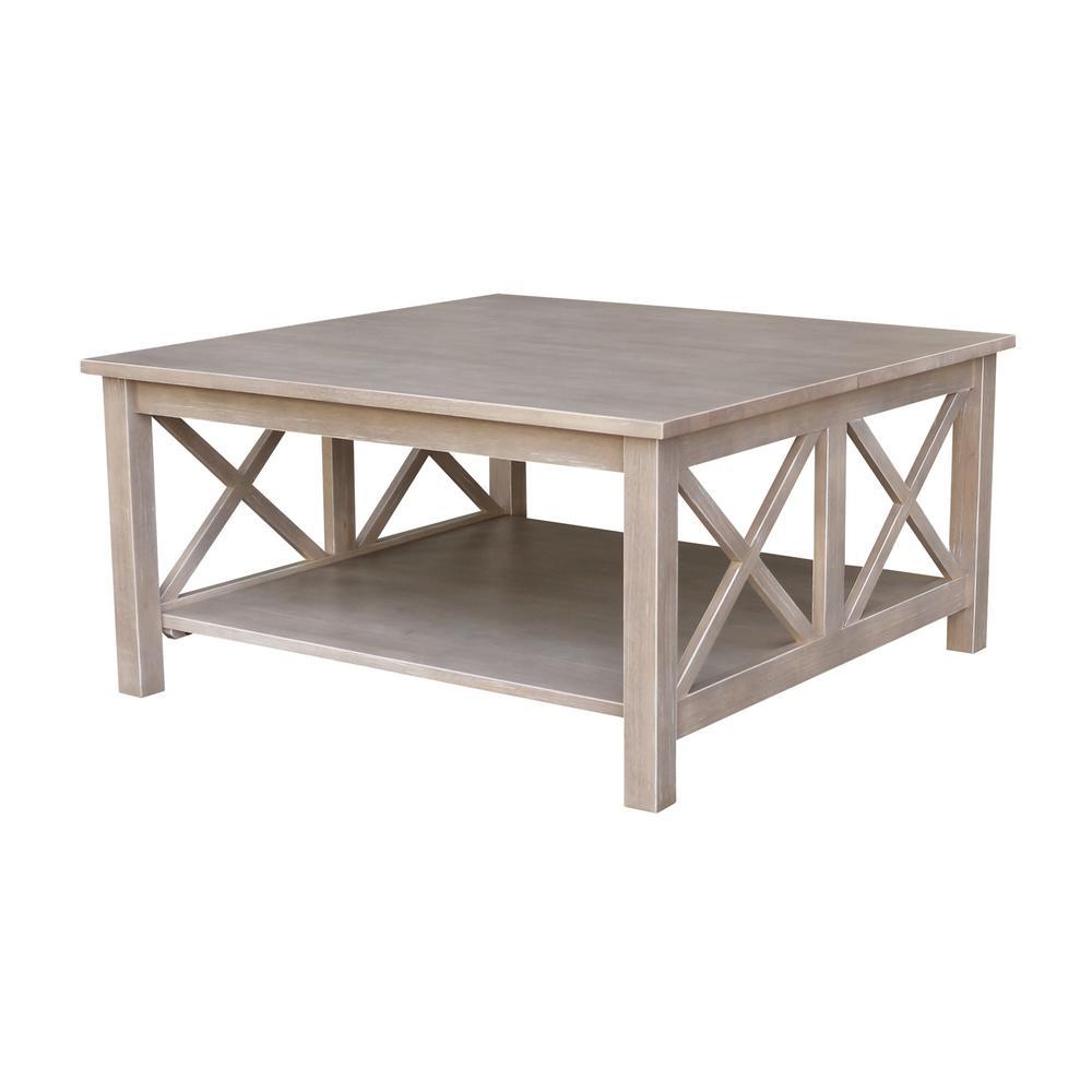 Hampton 36 in. Weathered Gray Medium Square Wood Coffee Table with Shelf
