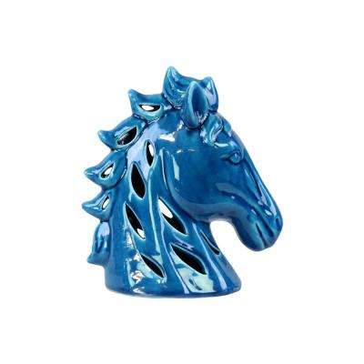 9.25 in. H Horse Decorative Sculpture in Blue Gloss Finish