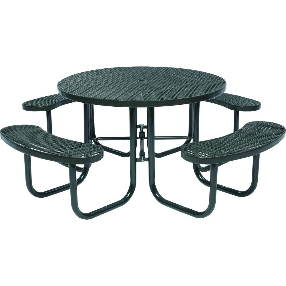 Tradewinds Park In Black Commercial Round Picnic TableHDDGS - Mesh picnic table