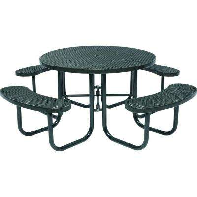 Park 46 in. Black Commercial Round Picnic Table