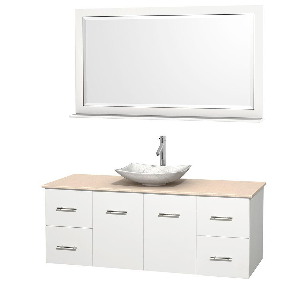 Wyndham Collection Centra 60 in. Vanity in White with Marble Vanity Top in Ivory, Carrara White Marble Sink and 58 in. Mirror