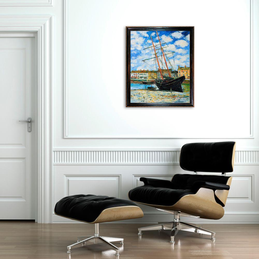 null 24 in. x 20 in. Boat at Low Tide, FeCamp 1881 Hand-Painted Classic Artwork