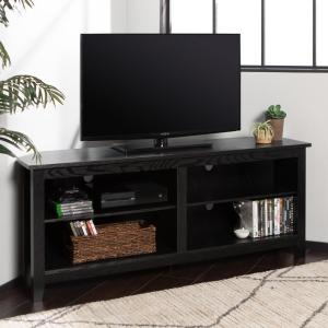 "58"" Transitional Wood Corner TV Stand - Black"