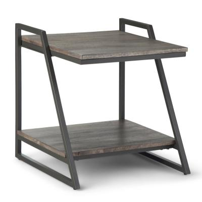 Simpli Home Braxton Solid Mango Wood and Metal 20 in. Carbon Stain Wide Square Industrial Contemporary End Table
