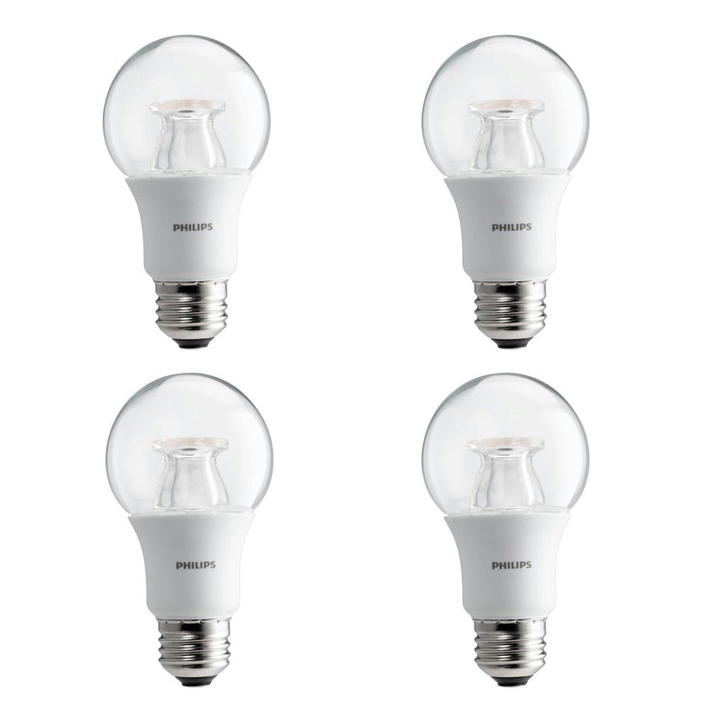 philips 60 watt equivalent a19 dimmable led light bulb soft white clear with warm glow light. Black Bedroom Furniture Sets. Home Design Ideas
