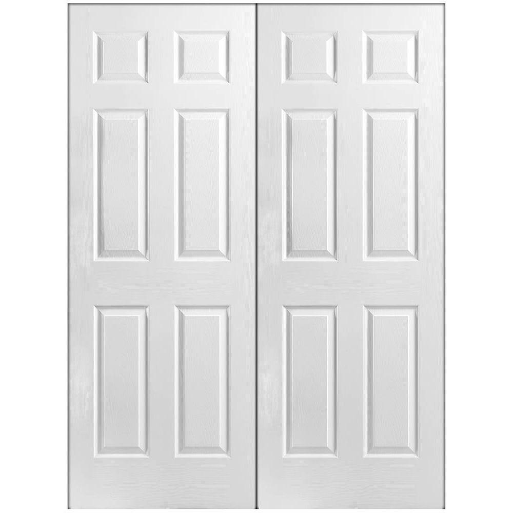 6 Panel Primed White Hollow Core Textured Composite Prehung Interior French Door