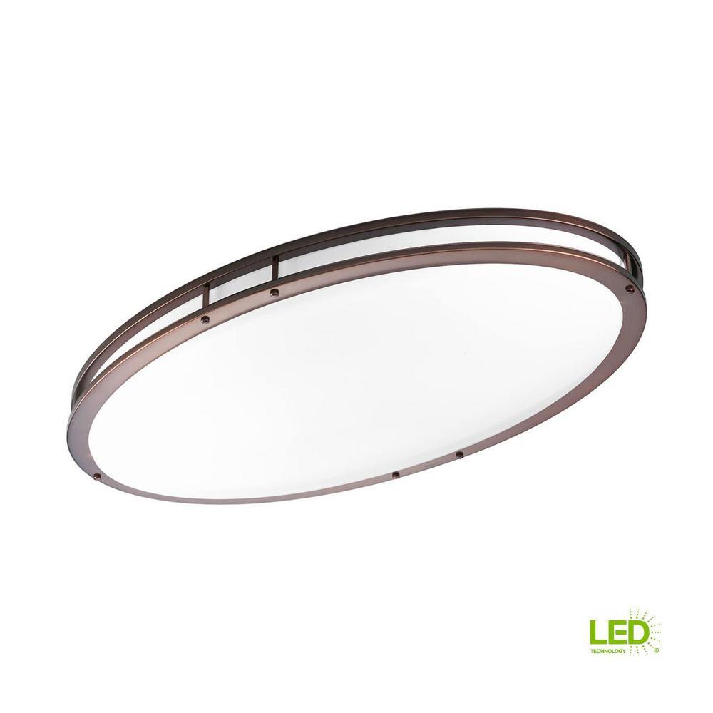 18 in. CTC COMM Collection 38 -Watt Urban Bronze Integrated LED Flushmount