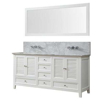 Shutter Premium 72 in. W Bath Vanity in White with Carrara White Marble Vanity Top with White Basins and Mirror