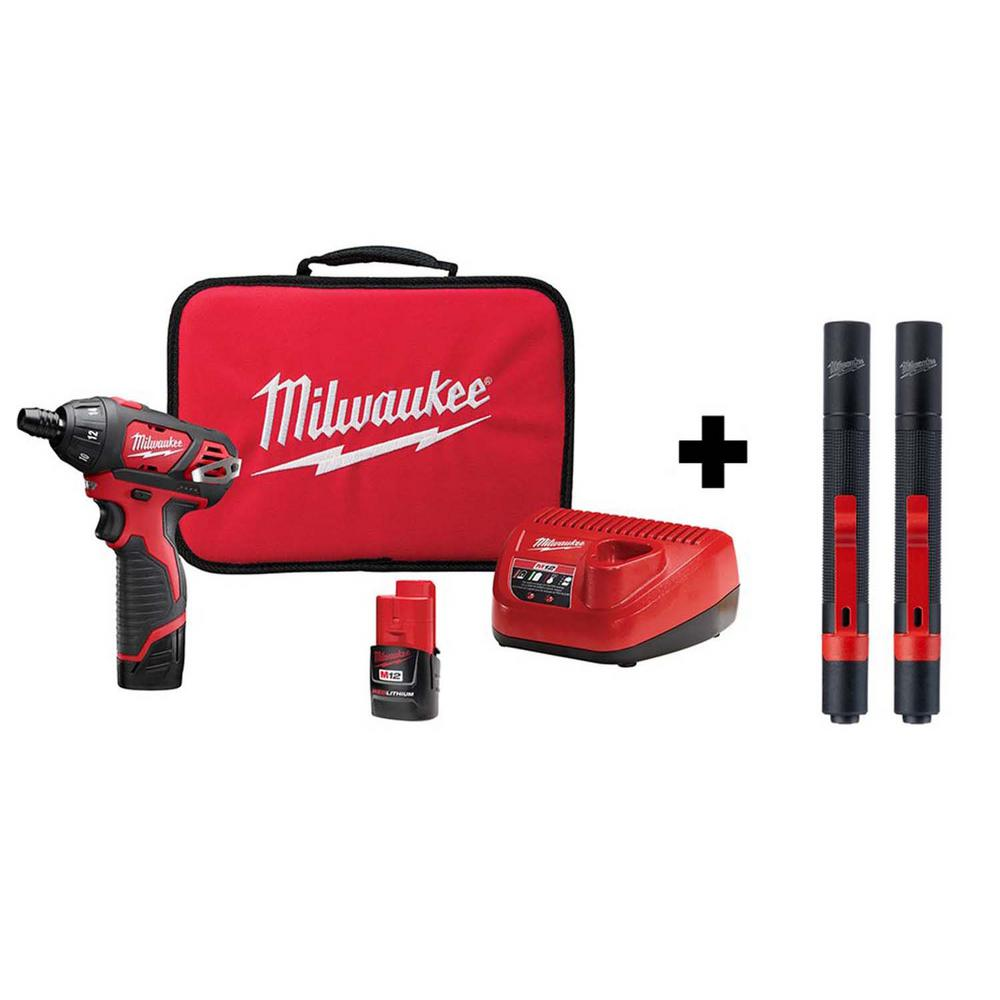 Milwaukee M12 12-Volt Lithium-Ion Cordless 1/4 in. Hex Screwdriver Kit w/100 Lumens Aluminum Pen Light with Clip (2-Pack)