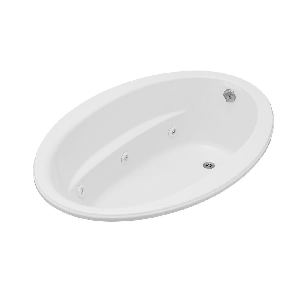 Kohler Sunward 6 ft. Oval Whirlpool Bath Tub in White with Heater ...