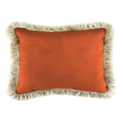 Sunbrella 19 in. x 12 in. Canvas Tuscan Lumbar Outdoor Throw Pillow with Canvas Fringe