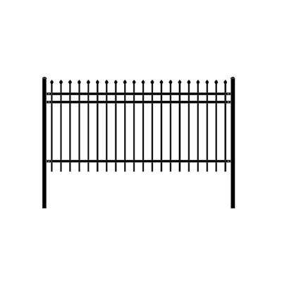 Rome Style 4 ft. x 8 ft. Black Unassembled Steel Fence Panel