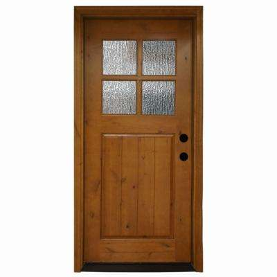 cottage 4 lite rain stained knotty alder wood prehung front door - Single Exterior Doors