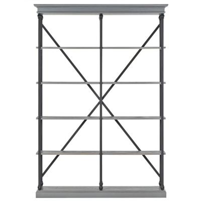 84 in. Gray Metal 5-shelf Etagere Bookcase