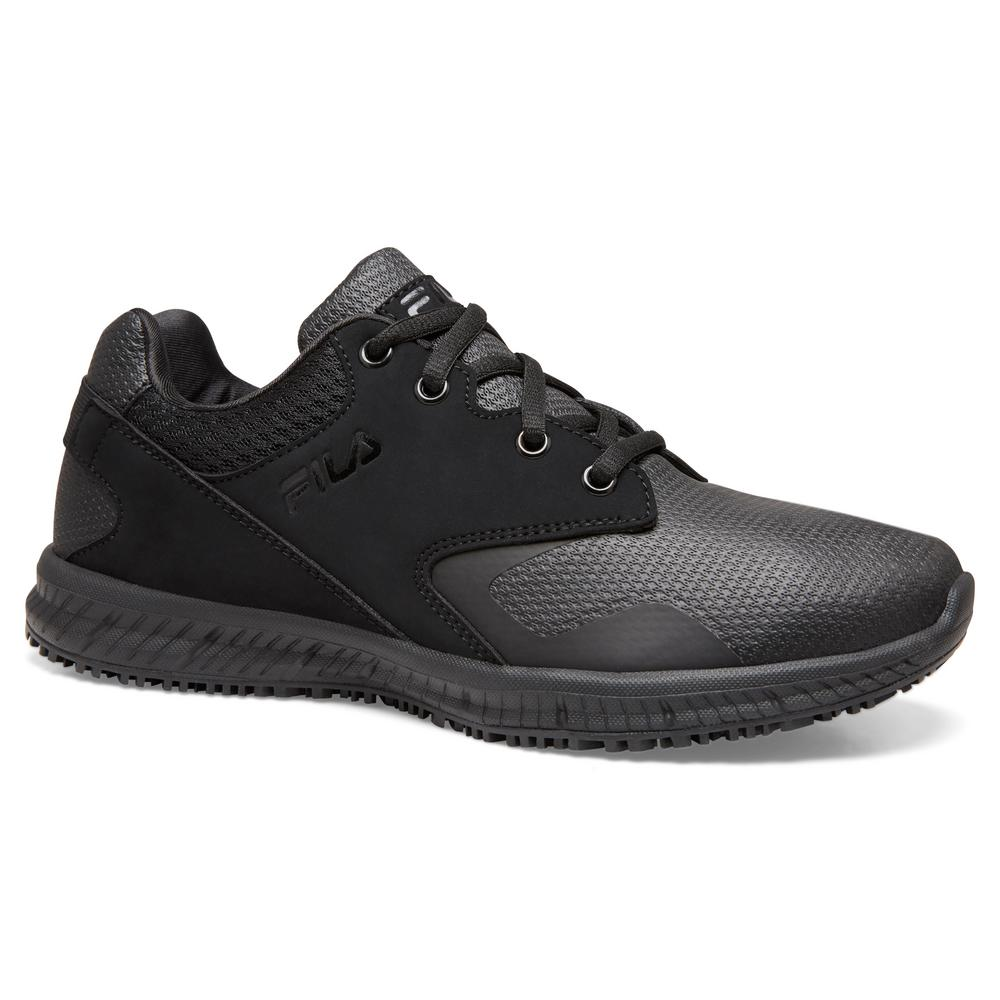 Fila Women's Memory Layers Slip Resistant Athletic Shoes Soft Toe BLACK Size 6.5(M)