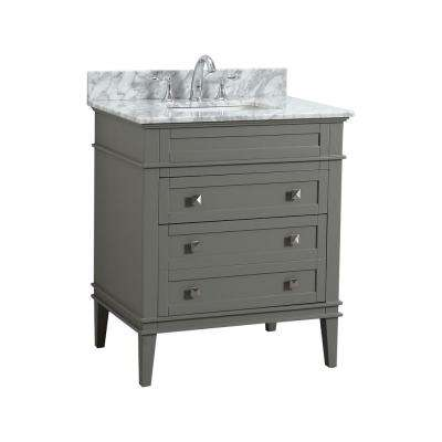 Rivoli 30 in. W x 22 in. D Bath Vanity in Fog Gray with Carrara Marble Vanity Top with White Basin
