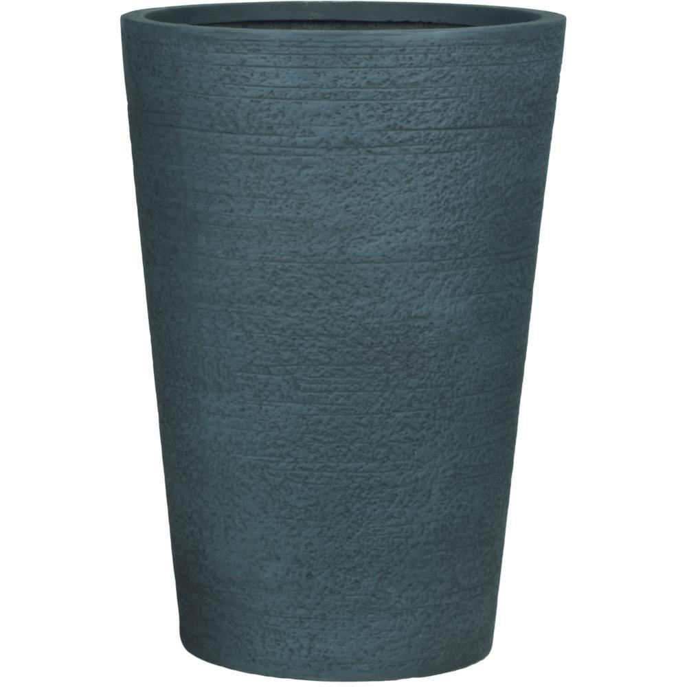 Dark Gray Fiberclay Tall Round Planter
