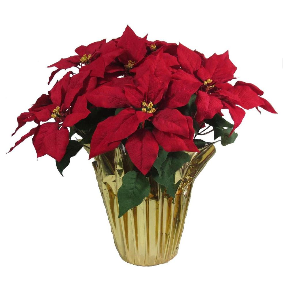 home accents holiday christmas 21 in red silk poinsettia in foil pot