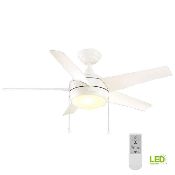 Windward 44 in. Indoor Matte White LED Smart Ceiling Fan with Light and Remote Works with Google Assistant and Alexa