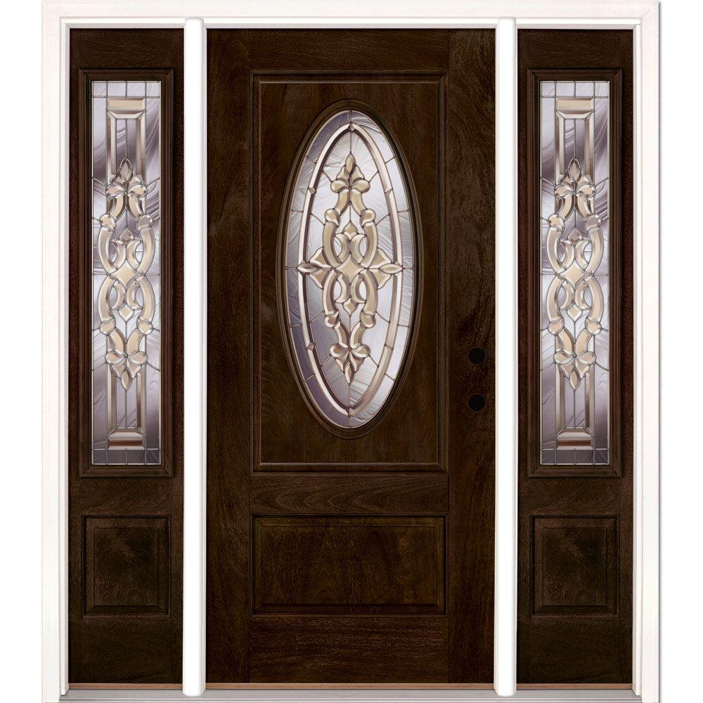63.5 in.x81.625in.Silverdale Zinc 3/4 Oval Lt Stained Chestnut Mahogany Lt-Hd