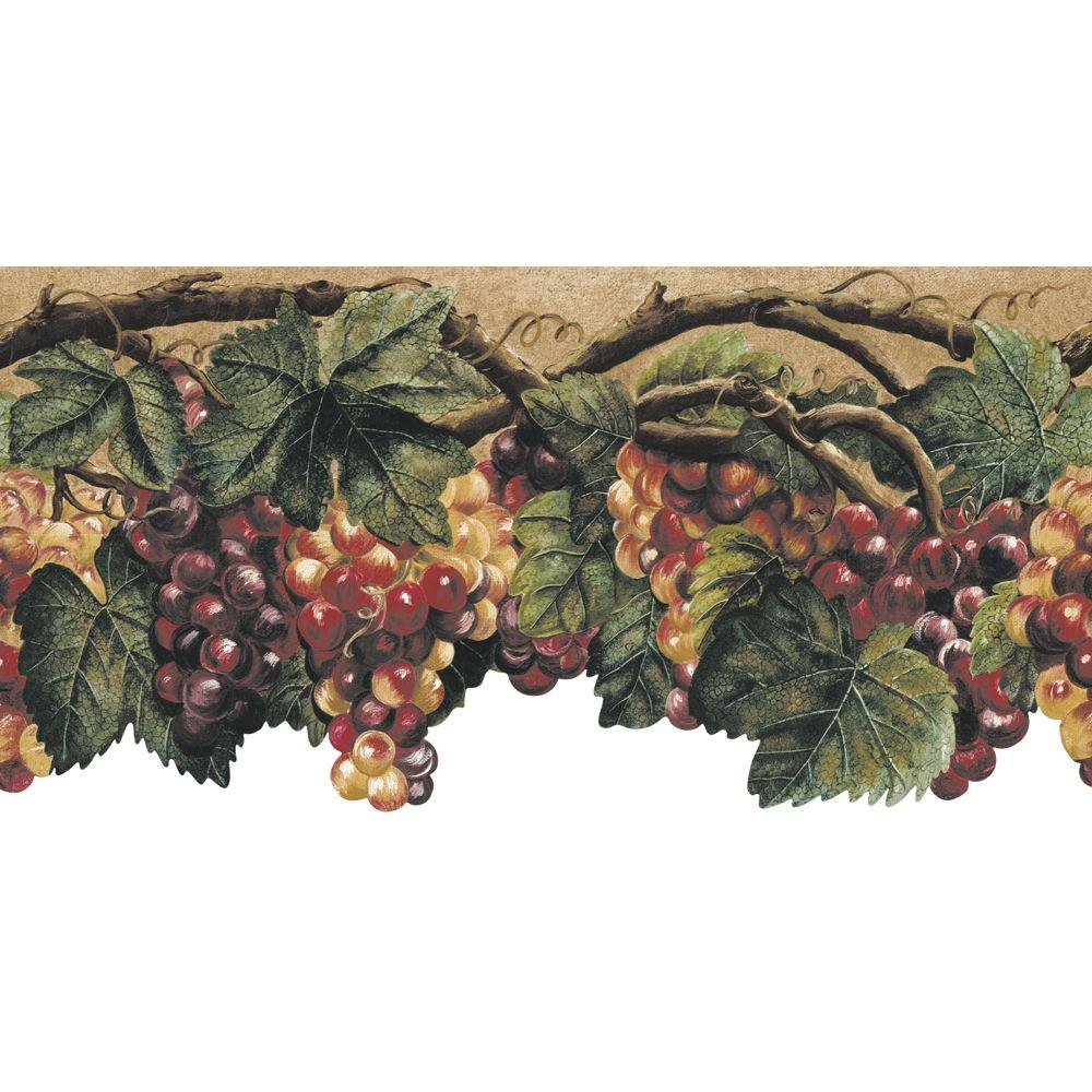 The Wallpaper Company 10.25 in. x 15 ft. Green Die Cut Fruit Border
