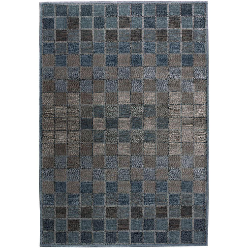 Rizzy Home Bellevue Collection Grey and Blue 6 ft. 7 in. x 9 ft. 6 in. Area Rug