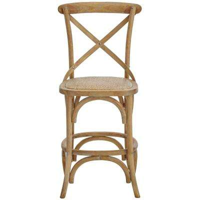 Hyde Cafe 24 in. Ash Grey Counter Stool with Back and Cane Seat