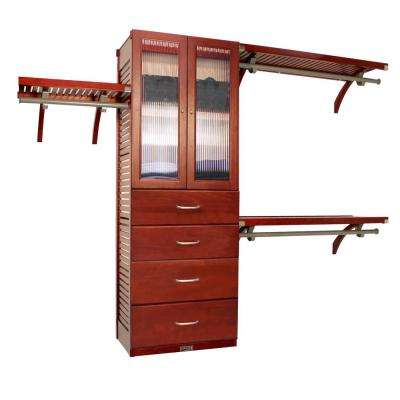 16 in. Deep Deluxe Closet System with Doors and 4 Drawers (8 in. and 10 in. Deep) Red Mahogany