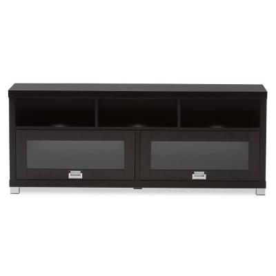Swindon 16 in. Dark Brown Wood TV Stand Fits TVs Up to 55 in. with Storage Doors